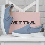 Мокасины женские кожаные Mida Мида голубые серебро 21905 324