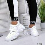К-1238 кроссовки женские, белые кроссовки на платформе, кроссовки на платформе, кроссовки кожа