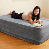 Надувная кровать Intex 64412, 99 х 191 х 46, встроенный электронасос. Односпальная