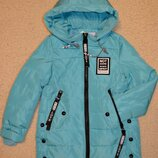 Демисезонная куртка детская, удлиненная куртка для девочек на тонком синтепоне, рост 134