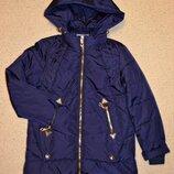 Демисезонная куртка детская, удлиненная куртка для девочек на тонком синтепоне, рост 122-134