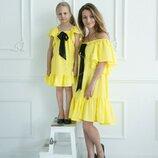 Комплект фемели лук мама дочка летних нарядных платьев
