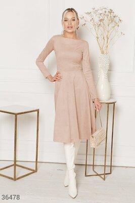 Замшевое расклешенное платье S-L р.