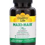 Maxi Hair Plus. Здоровые волосы, ногти, кожа. 5000 мкг биотина, 120 шт. Сша