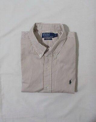Рубашка белая в кофейную полоску 'Ralph Lauren' 52-54р