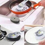 Многофункциональная щетка для мытья посуды с дозатором для моющего средства и насадками