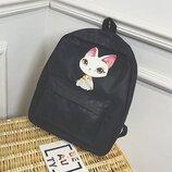 Рюкзак черный однотонный принт котик с большими ушками тканевый унисекс