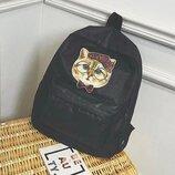 Рюкзак черный однотонный принт котик с бантиком в очках тканевый унисекс