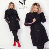 Модное кашемировое пальто с лампасами размеры 48-58