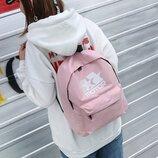 Рюкзак розовый однотонный принт звезды логотип motor мотор унисекс