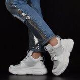 Кроссовки женские кожаные Richi Black Teddy Мишка на платформе белые