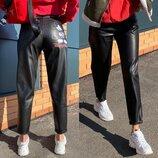 Стильные брюки эко - кожа черные