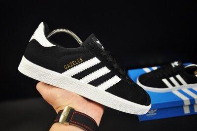 Кроссовки женские Adidas Gazelle черные замш