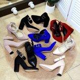 Женские туфли с ремешком натуральная замша и кожа