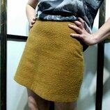 горчичная юбка трапеция мини букле бренд george