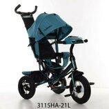 Турбо 3115 Лён велосипед трёхколёсный детский с родительской ручкой Turbo Trike
