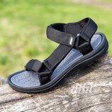 Босоножки сандалии мужские черные на липучках Restime - чоловічі босоніжки сандалі чорні