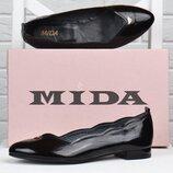 Туфли лодочки женские кожаные Mida Мида черные лакированные 21983 134