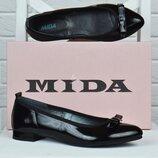 Туфли женские кожаные Mida Мида с бантом черные 210007 134