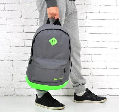 Модный рюкзак NIKE, Найк. Серый с салатовым.