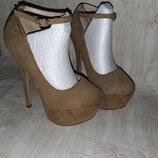 Бежевые туфли под замш с ремешком на ногу на высоком каблуке р.37, 38 для стриппластики и пилатеса