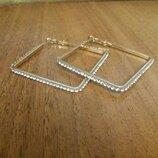 симпатичные серьги квадраты с камушками квадратные серьги сережки квадратні сережки