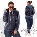 Куртка-Олимпийка из тиснённой экокожи без подклада на молнии с манжетами и капюшоном из двунитки X73