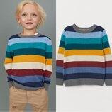 Детский джемпер для мальчика H&M color strip мелкой вязки цветные полосы