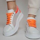 Женские белые с жёлтым,оранжевым кеды сетка перфорация белая подошва Натуральная кожа Цветные шнурки