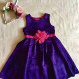 George. Ярко -Неоновое Фиолетовое платье из королевского атласа с принтом Бантиков.