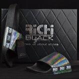 Шлепанцы женские кожаные Richi Black черные голографик хамелеон