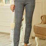 Лосины, брюки в клетку, трикотажные брюки, лосины с принтом, брюки с принтом р-р с 42 по 56