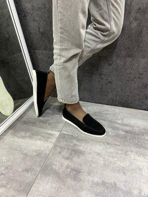 Женские чёрные натуральные туфли лоферы мокасины Натуральная Замша Кожа Разные цвета Белая подошва