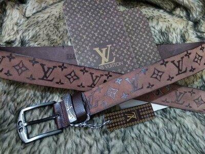 Ремень кожаный мужской в стиле Louis Vuitton, Луи Виттон коричневый