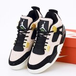Мужские кроссовки Nike Air Jordan 4 Retro. Beige Black. Найк Джордан.