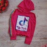 Детский крутой яркий кроп топ Тик Ток с капюшоном Tik tok