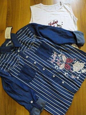 Джинсовая блуза-туника и футболка 46 р