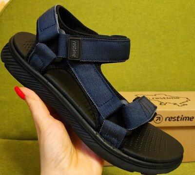 Босоножки сандалии спортивные на липучках мужские RESTIME mml20223 чёрные синие коричневые