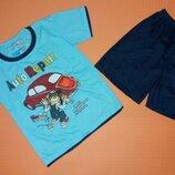 Детский костюм футболка и шорты для мальчика на рост 92-98 см.