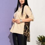 Стильная женская асимметричная блуза с леопардовой вставкой