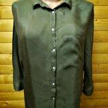 Стильная однотонная блузка испанского бренда Zara цвета хаки, пр-во Турция.