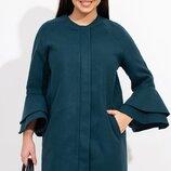 Кашемировое пальто прямого кроя без подклада на молнии, рукавами 7/8 декорированые двойным воланом и
