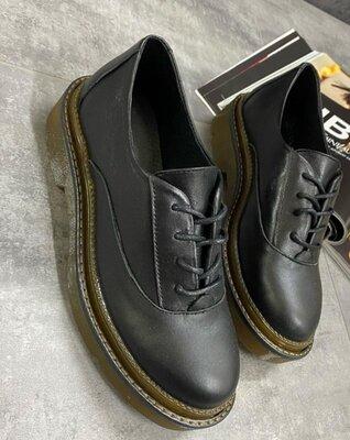 Женские чёрные натуральные кожаные замшевые туфли лоферы броги на шнурках Натуральная кожа замша