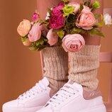 Женские натуральные кожаные белые пудра кеды белая подошва Натуральная кожа Белые шнурки