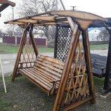 Качели для сада раскладные деревянные