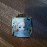 Дзеркало двостороннє кишенькове гламурне Barbie зеркало карманное