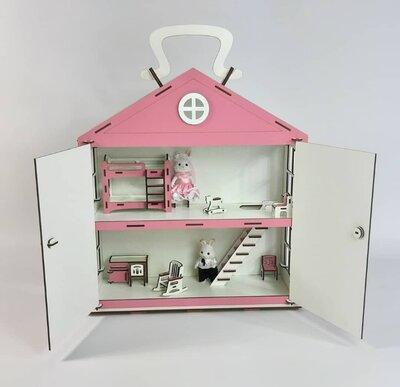 Кукольный домик с мебелью. Развивающие игрушки. Домик- сундучек