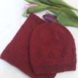Комплект вязаний весняний шапка снуд