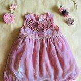 H&M НМ бархатное Нежно- розовое с серебряным отливом. Венецианское кружево и украшение из шелковых
