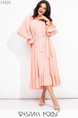 Длинное платье свободного кроя на пуговицах с эффектным U-образным вырезом длинными объемными рукава